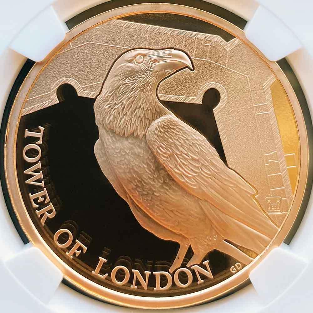 2019 英国 ロンドン塔コインコレクション ワタリガラス 5ポンド 金貨 プルーフ NGC PF 70 UC 最高鑑定 完全未使用品 元箱付_画像3