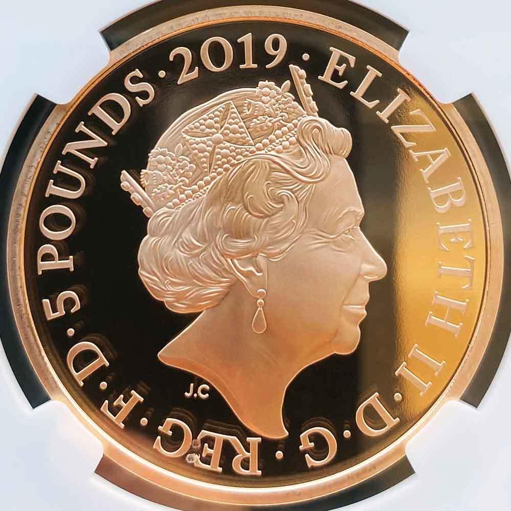 2019 英国 ロンドン塔コインコレクション ワタリガラス 5ポンド 金貨 プルーフ NGC PF 70 UC 最高鑑定 完全未使用品 元箱付_画像4
