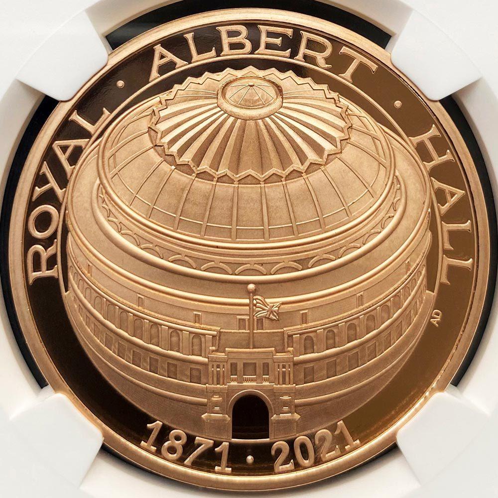 2021 英国 ロイヤル・アルバート・ホール開場150周年記念 5ポンド 金貨 プルーフ NGC PF 70 UC ER 初鋳版 最高鑑定 元箱付 日本最安値!_画像3