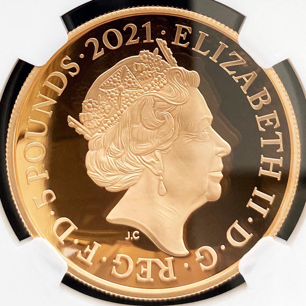 2021 英国 ロイヤル・アルバート・ホール開場150周年記念 特別版 ドーム型コイン 5ポンド 金貨 プルーフ NGC PF 70 UC ER 初鋳版 最高鑑定_画像4
