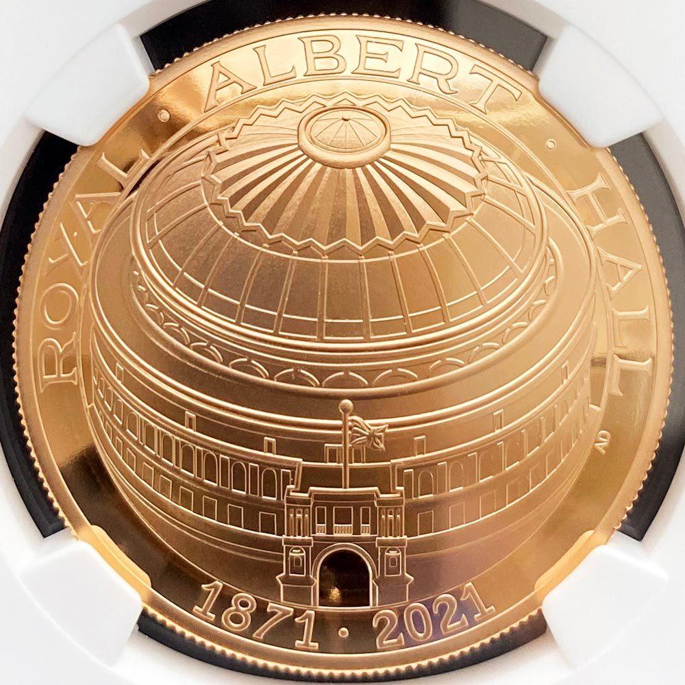2021 英国 ロイヤル・アルバート・ホール開場150周年記念 特別版 ドーム型コイン 5ポンド 金貨 プルーフ NGC PF 70 UC ER 初鋳版 最高鑑定_画像3
