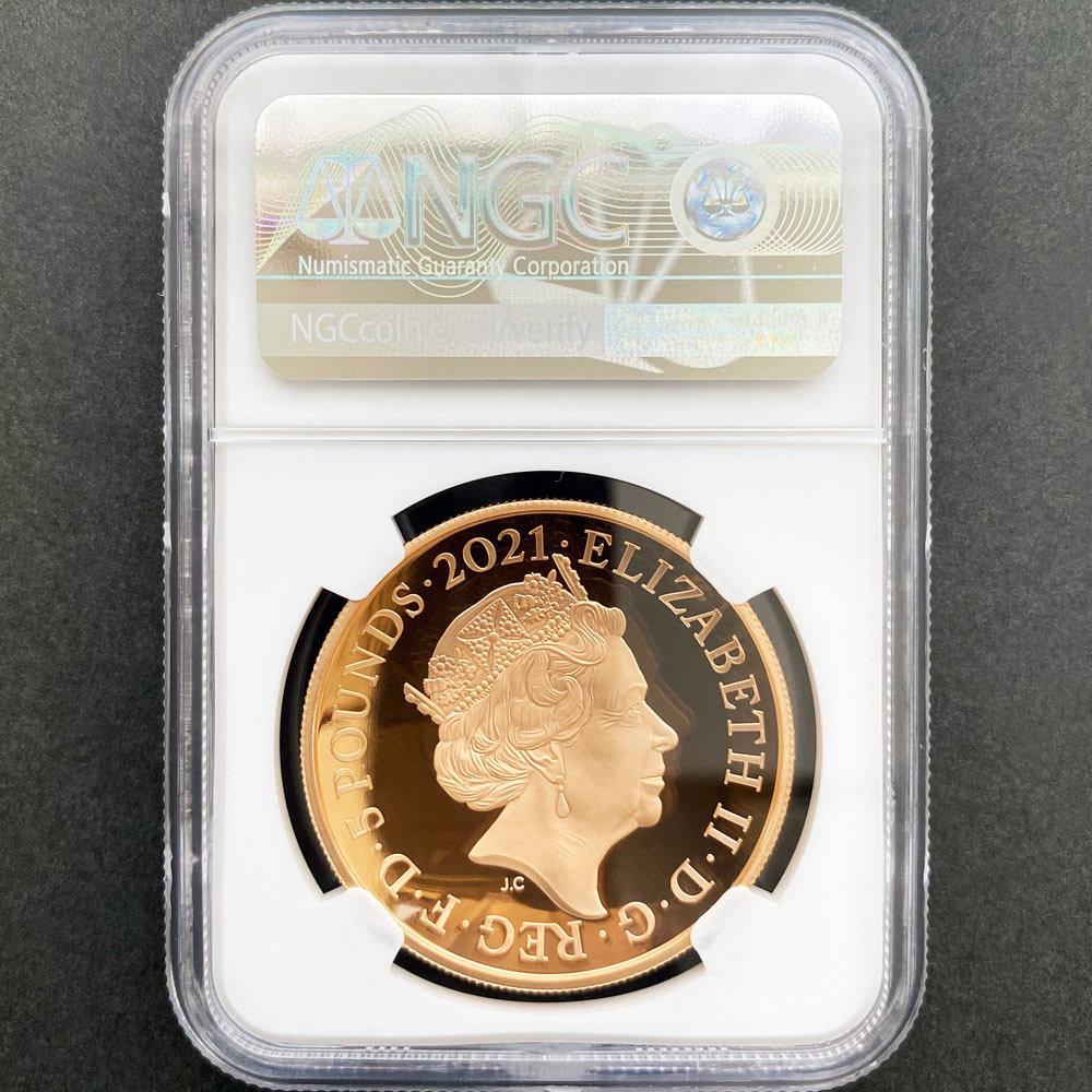 2021 英国 ロイヤル・アルバート・ホール開場150周年記念 特別版 ドーム型コイン 5ポンド 金貨 プルーフ NGC PF 70 UC ER 初鋳版 最高鑑定_画像2