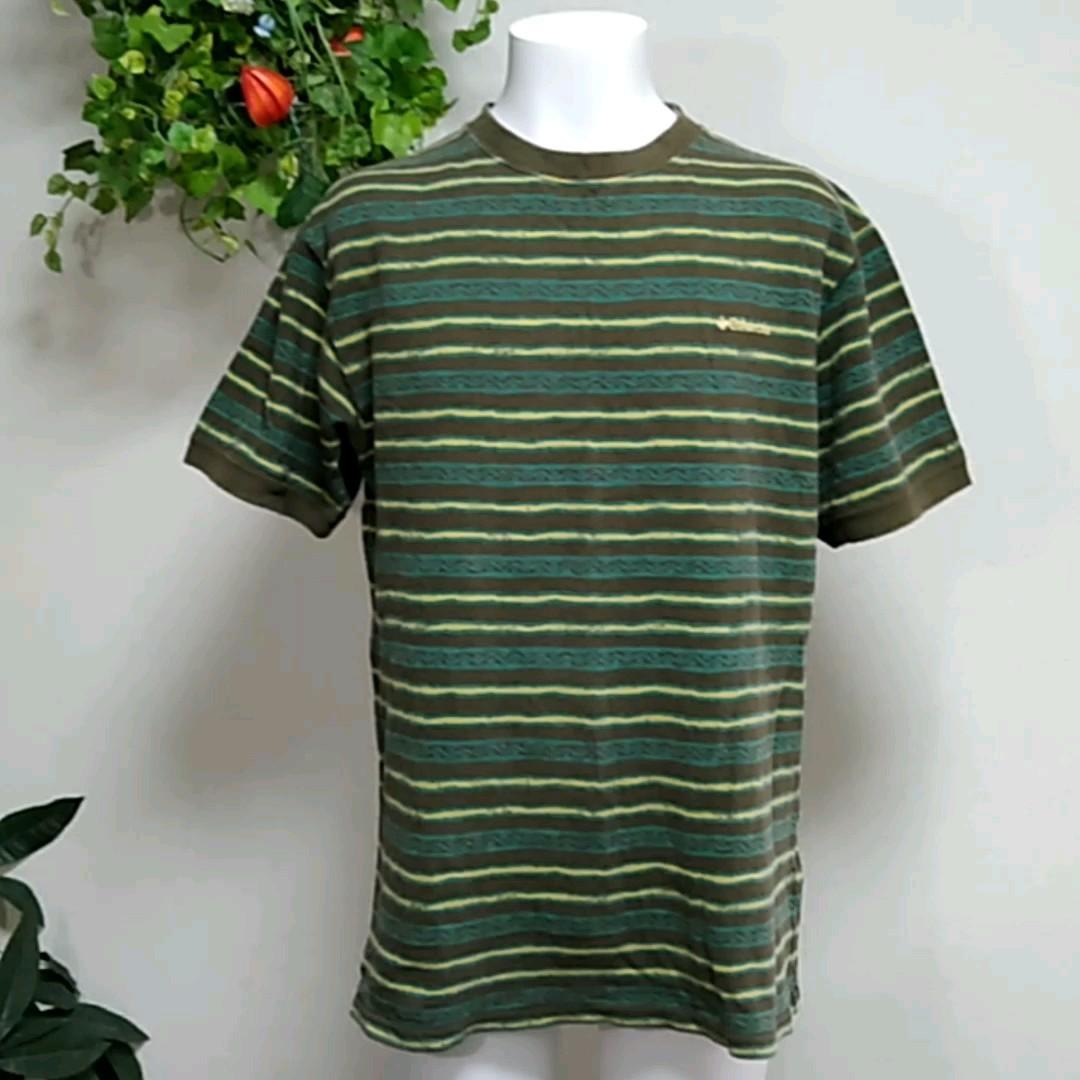 コロンビア半袖TシャツL 鹿の子編み ベージュ系ボーダー リブを中心に洗濯回数による少し色落ちなど使用感あり columbia