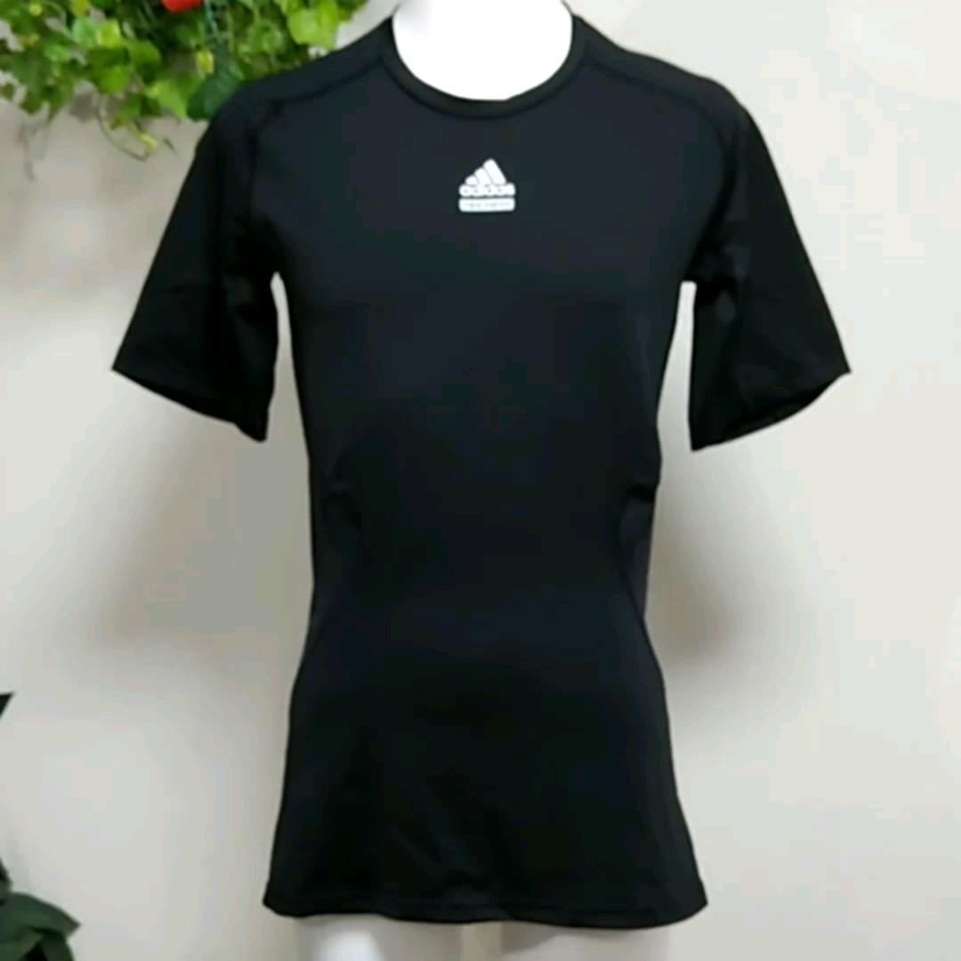 アディダス半袖インナーシャツXO  TECHFIT コンプレッション加圧Tシャツ 黒 高機能CLIMALITE  adidas