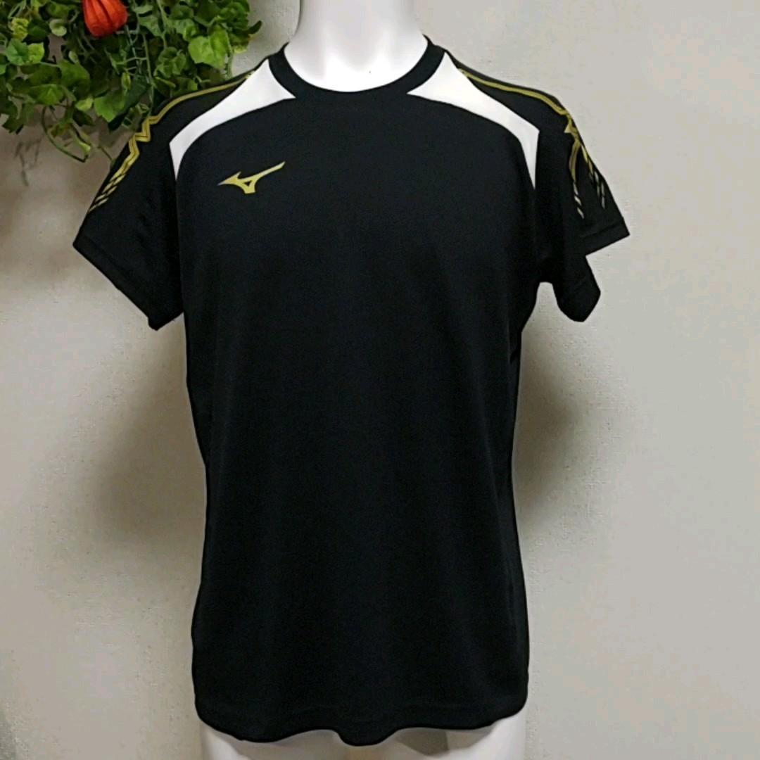 ミズノ半袖TシャツM 黒 高機能素材【QUICKDRY PLUS】ポリエステル素材で快適です!  MIZUNO