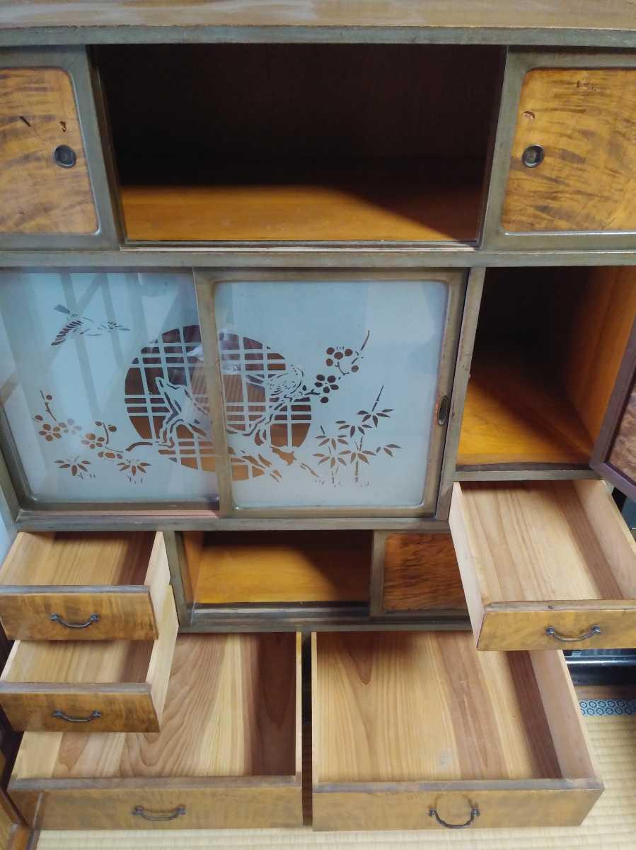 ◆昭和20年代【磨り硝子入り/木目の茶箪笥】アンティーク 古道具 レトロ ビンテージ_画像2