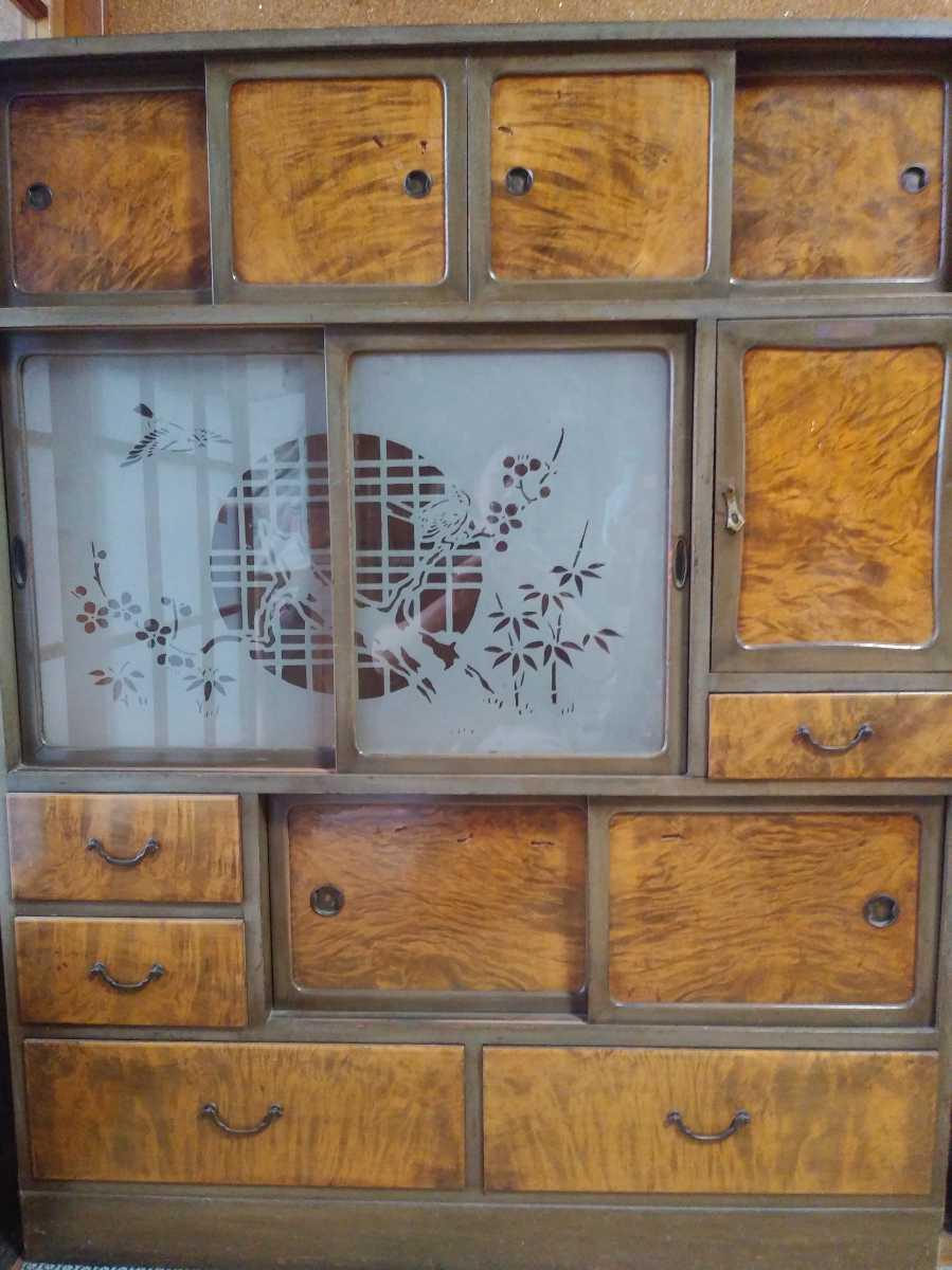◆昭和20年代【磨り硝子入り/木目の茶箪笥】アンティーク 古道具 レトロ ビンテージ_画像1