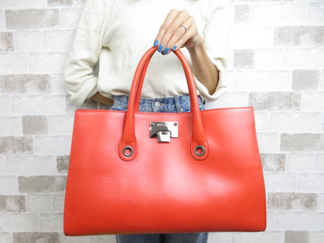 美品■ジミーチュウ JIMMY CHOO■トート バッグ ハンドバッグ レザー オレンジ A4可 ビタミンカラー 夏色鞄 ah9850