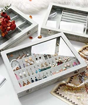 A ジュエリーケース アクセサリーボックス ピアス イヤリングケース 耳飾り収納/ネックレス収納/指輪収納 ケース ベルベット_画像6
