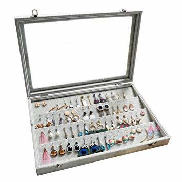 A ジュエリーケース アクセサリーボックス ピアス イヤリングケース 耳飾り収納/ネックレス収納/指輪収納 ケース ベルベット_画像1