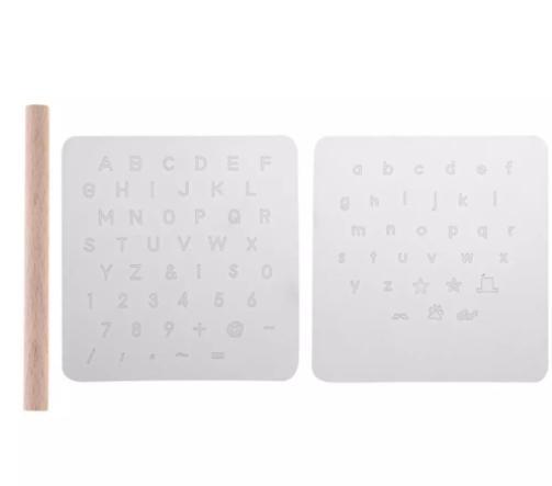 レザークラフト用スタンプ アルファベット 大文字 小文字 数字 透明 プレート 刻印 革