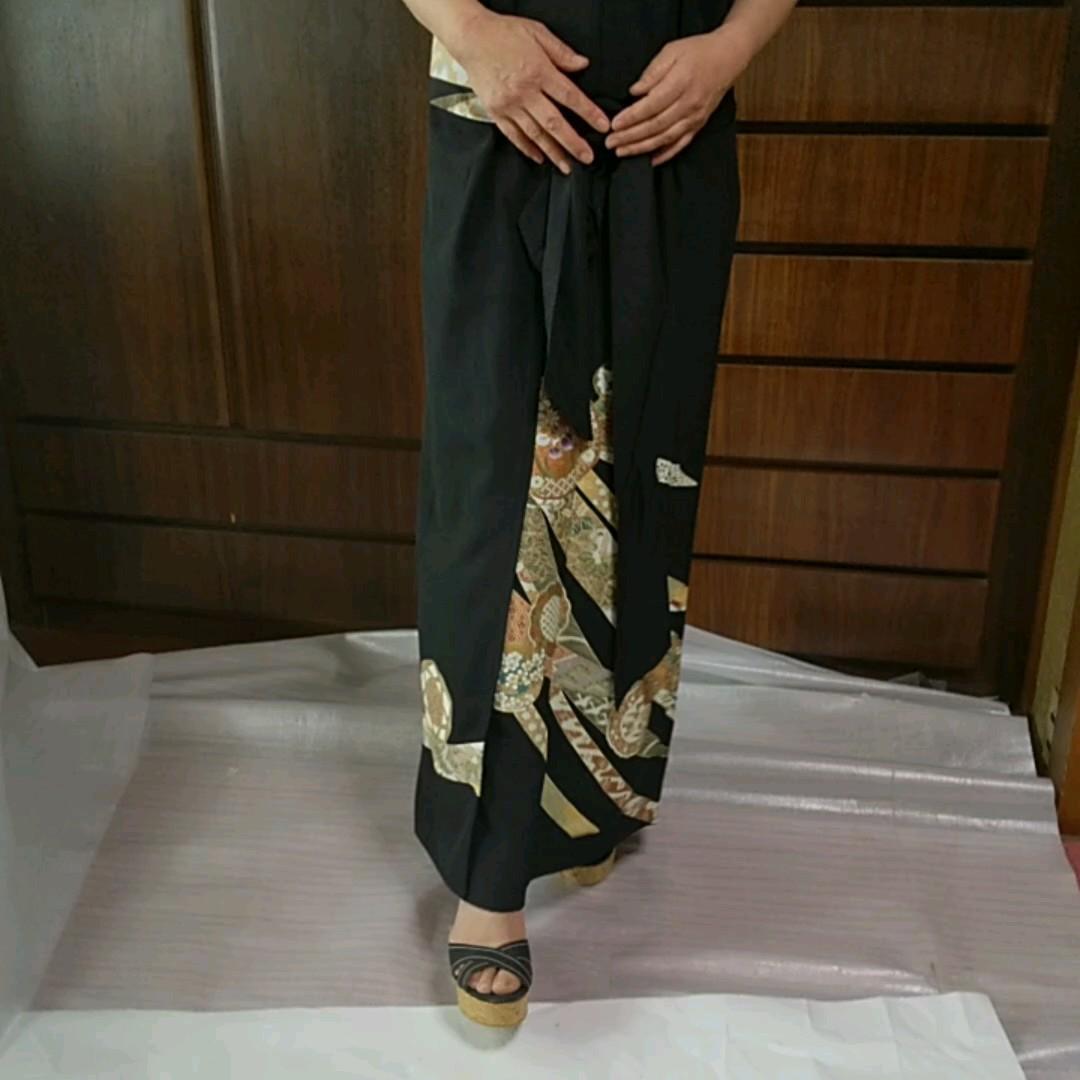 着物リメイクドレス   黒留袖 ワンピース カラオケ衣装