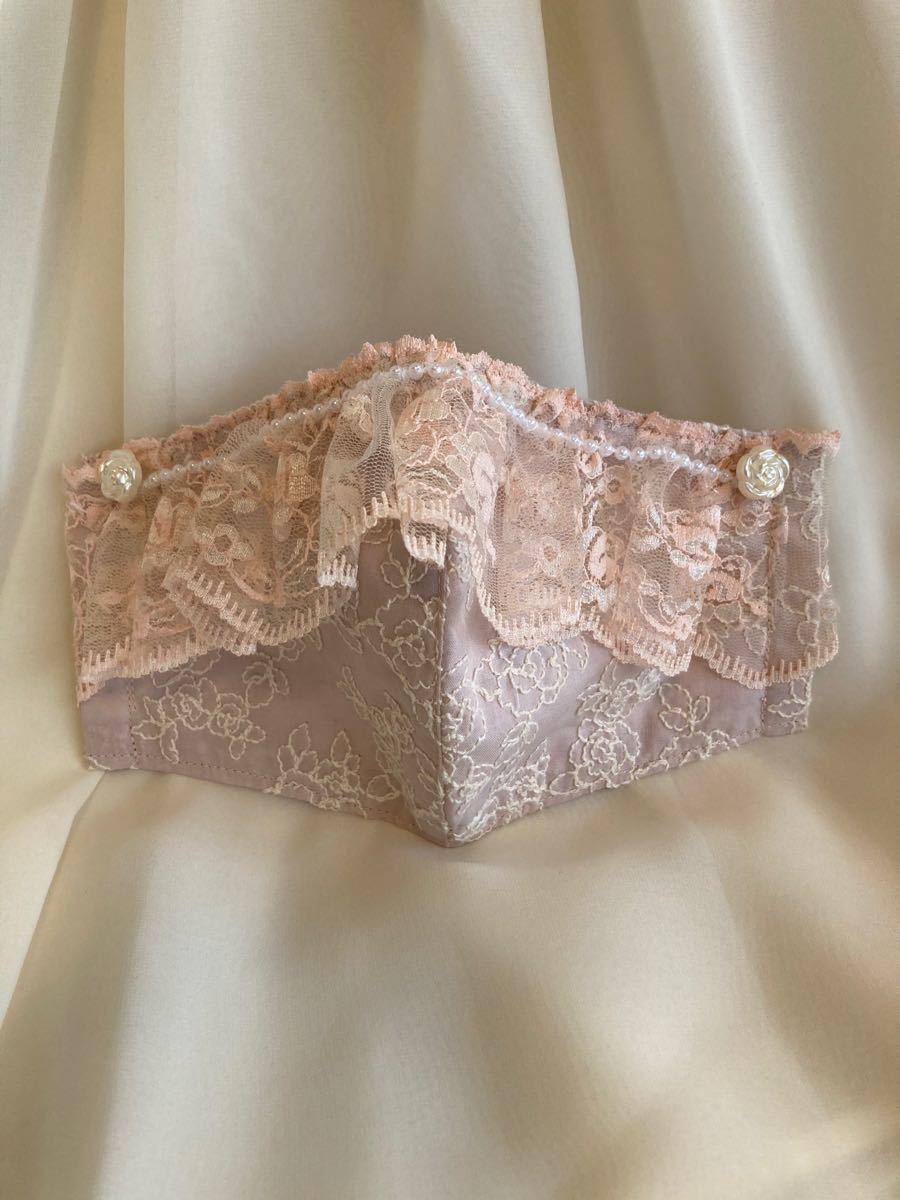 【※ご予約お取り置き品です】立体インナー コットンレース 薔薇刺繍 くすみピンク パールつきレース 和柄グリーン2点おまとめ