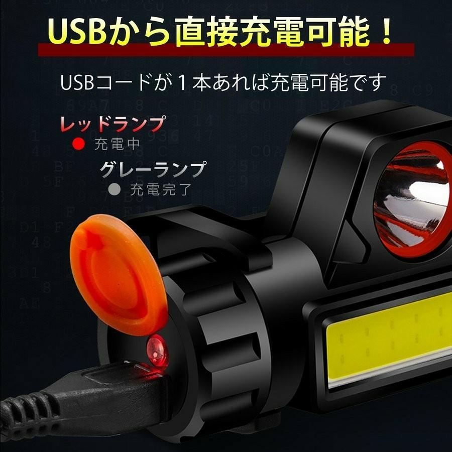 LEDヘッドライト 2台セット  USB充電式 キャンプ アウトドア 登山 夜間作業 夜釣り LEDヘッドランプ  IPX6