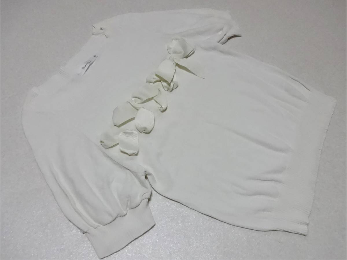 ワールド♪【Couture brooch】オフホワイト半袖ニットカットソー38★新品同様♪_画像1