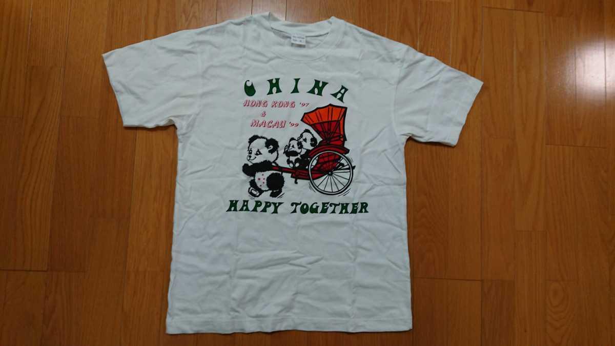 個性派! Tシャツ Mサイズ パンダ 白Tシャツ 味あるチャイナTシャツ_画像1