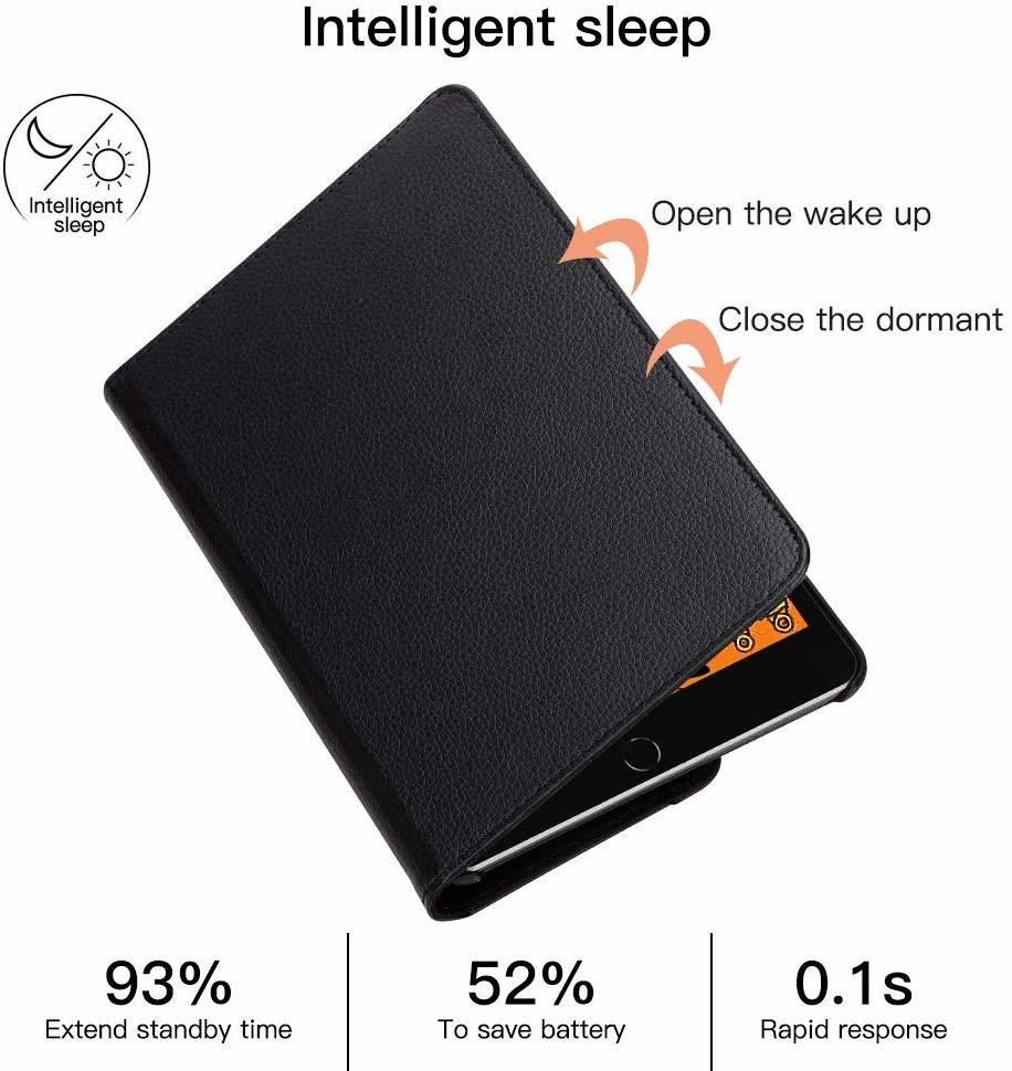 iPad mini4 用 2019年型 ケース (黒色) mini5 合革レザー ミニ4 ミニ5360度回転 スタンド 耐衝撃多角度 シンプル アイパッド保護カバー_画像4