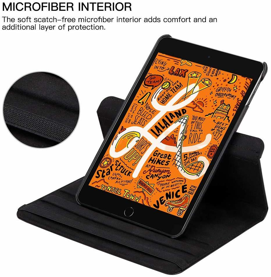 iPad mini4 用 2019年型 ケース (黒色) mini5 合革レザー ミニ4 ミニ5360度回転 スタンド 耐衝撃多角度 シンプル アイパッド保護カバー_画像2