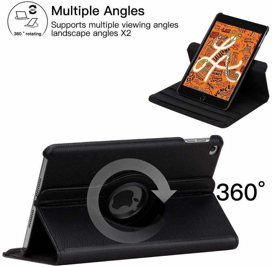 iPad mini4 用 2019年型 ケース (黒色) mini5 合革レザー ミニ4 ミニ5360度回転 スタンド 耐衝撃多角度 シンプル アイパッド保護カバー_画像5