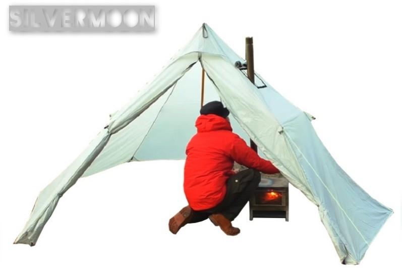 新品未使用 ワンポールテント 煙突を出す開口部あり ストーブテント