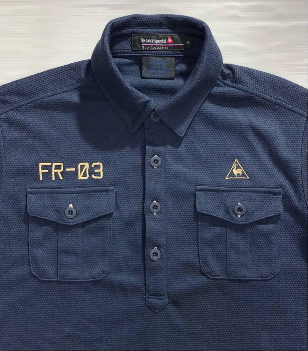 《le coq sportif GOLF ルコックゴルフ》ロゴ FR-03刺繍 半袖 ポロシャツ ネイビー M_画像4