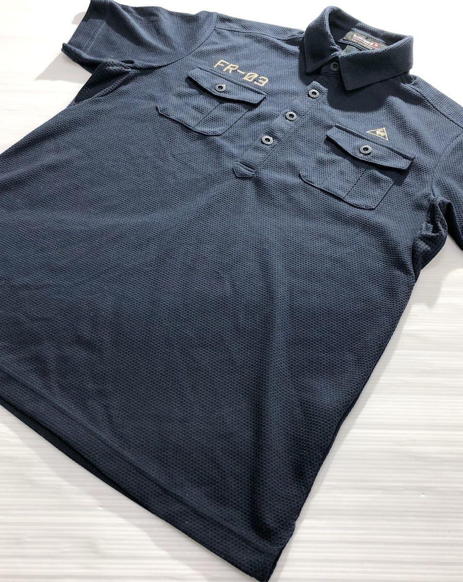 《le coq sportif GOLF ルコックゴルフ》ロゴ FR-03刺繍 半袖 ポロシャツ ネイビー M_画像3