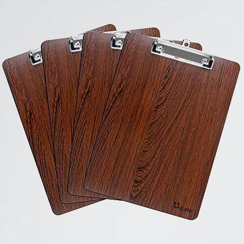 新品 未使用 A4 Uquelic R-K8 (ブラウン 4個入り) ファイルバインダ- クリップボ-ド タテ型 携帯便利_画像1