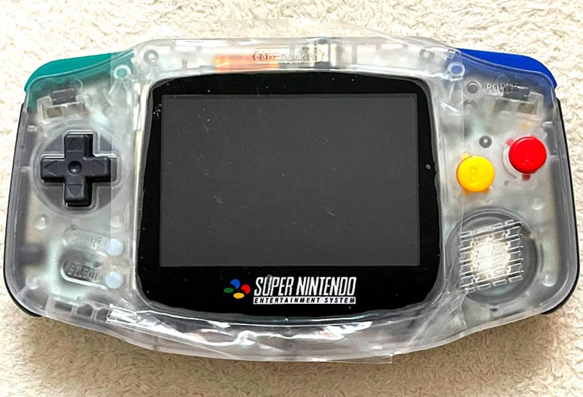 ゲームボーイアドバンス 本体 バックライト SFCエディション(クリア) 正規FunnyPlaying社製IPS v2 液晶 10段階輝度調整可 GAME BOY ADVANCE