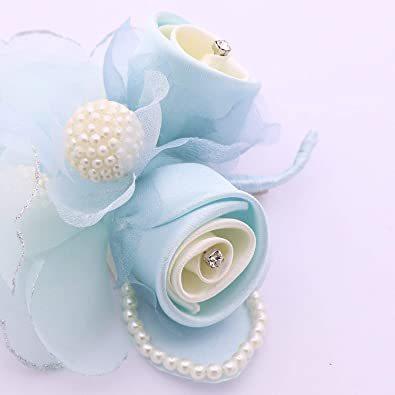 ブルー (クレインズコレクション) 手作り パール コサージュ フォーマル エレガント 入学式 卒業式 入園式 卒園式 結婚式 _画像3