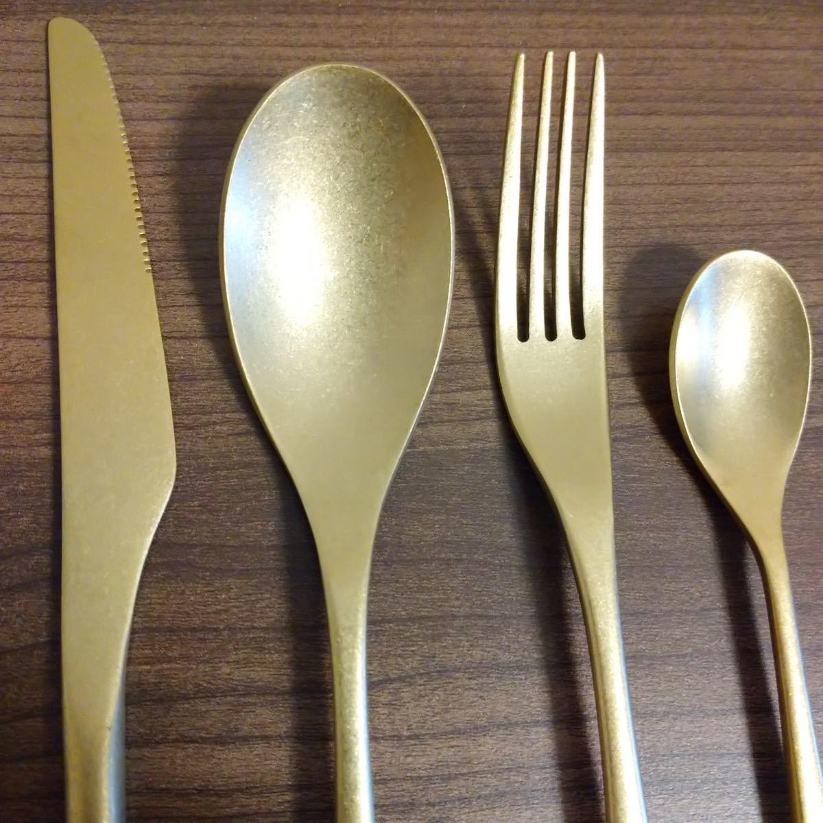 表面キラキラ】ゴールド カトラリーセット 4本 フォーク ナイフ スプーン 大きめ ディナー用 重厚感 スタイリッシュ