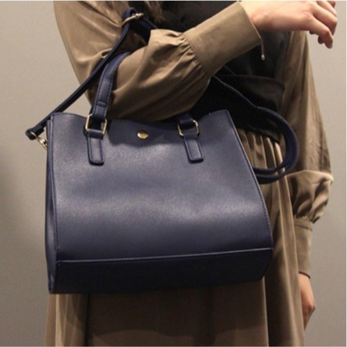 ハンドバッグ ショルダーバッグ ミニバッグ 2way ファスナー付き オフィス ネイビー 斜め掛け バッグ 紺 レザー調 ポケット
