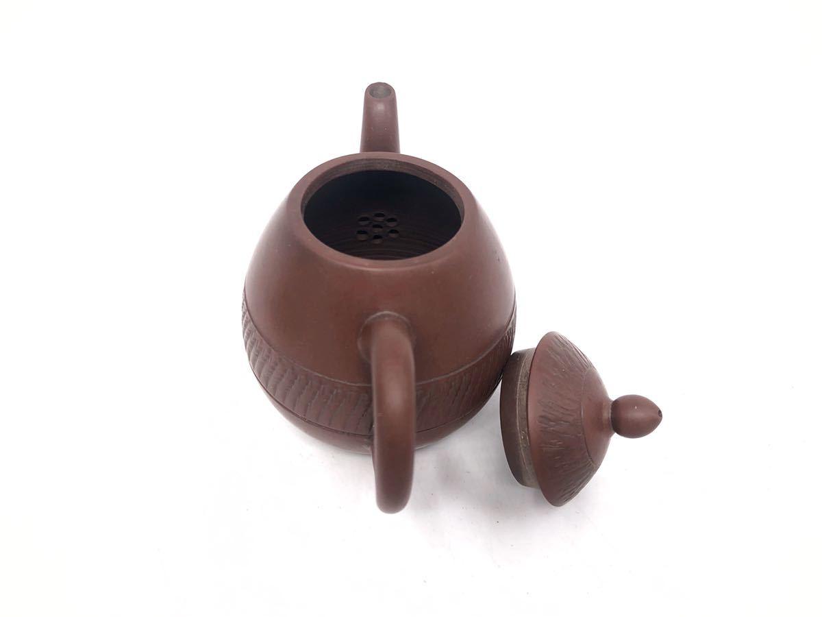 【麗】A186 中国美術 「宜龍」銘 紫砂壺 横手急須 茶碗 茶器セット 茶道具 在銘 合箱 煎茶道具_画像6