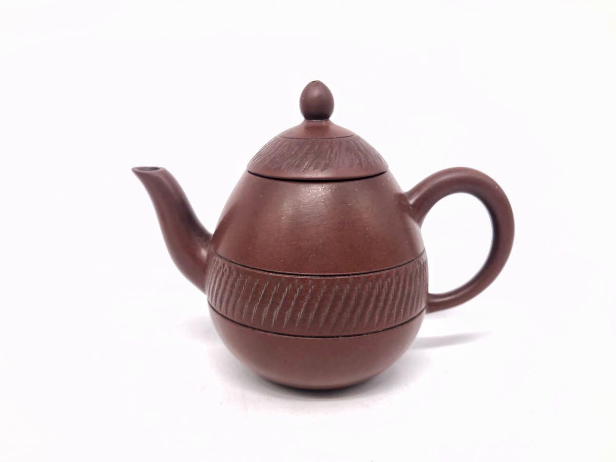 【麗】A186 中国美術 「宜龍」銘 紫砂壺 横手急須 茶碗 茶器セット 茶道具 在銘 合箱 煎茶道具_画像2