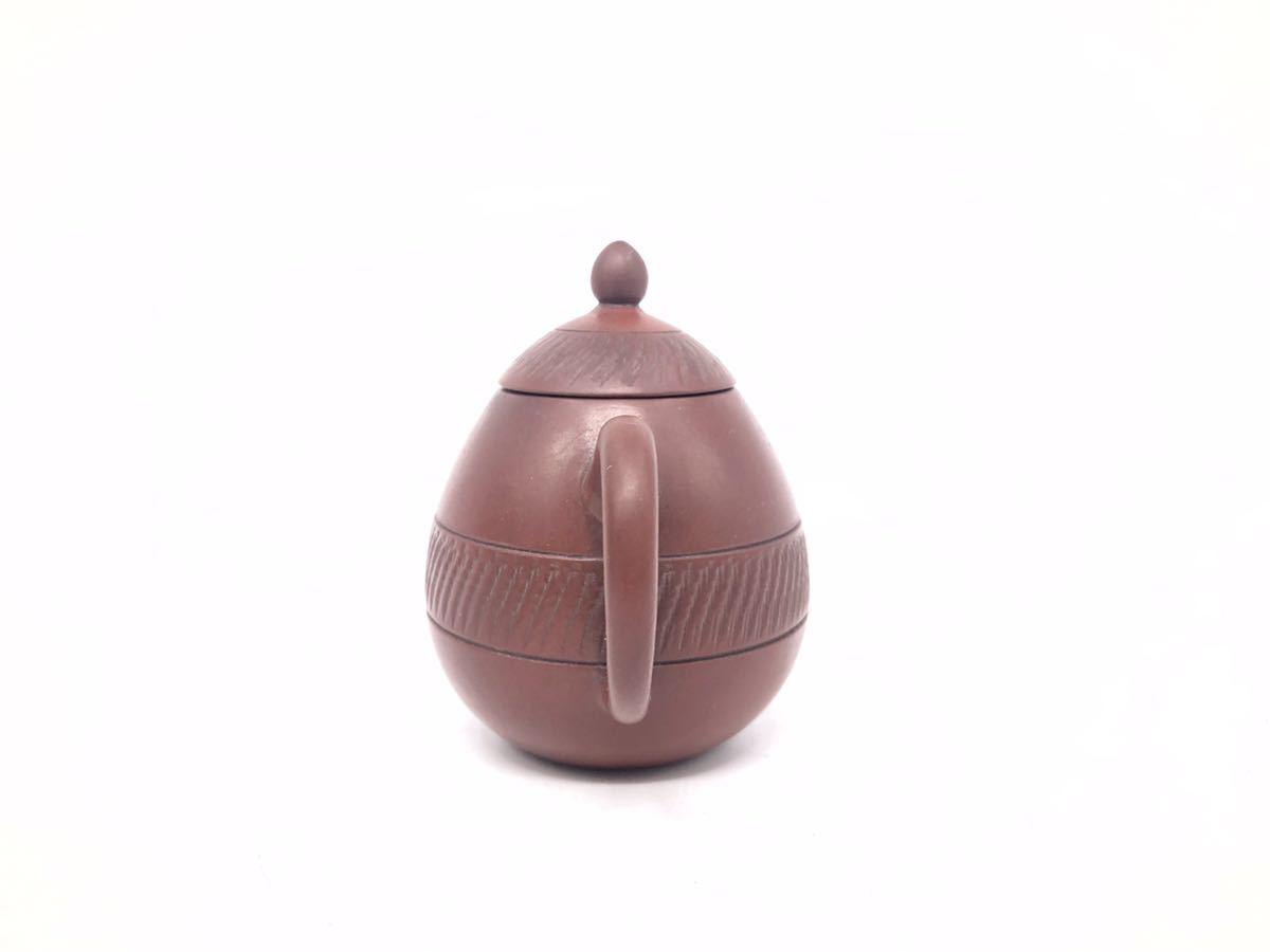 【麗】A186 中国美術 「宜龍」銘 紫砂壺 横手急須 茶碗 茶器セット 茶道具 在銘 合箱 煎茶道具_画像5