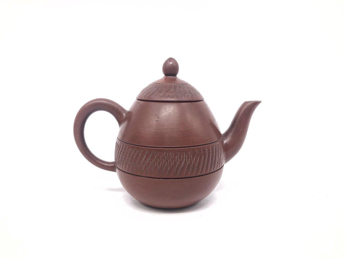 【麗】A186 中国美術 「宜龍」銘 紫砂壺 横手急須 茶碗 茶器セット 茶道具 在銘 合箱 煎茶道具_画像4