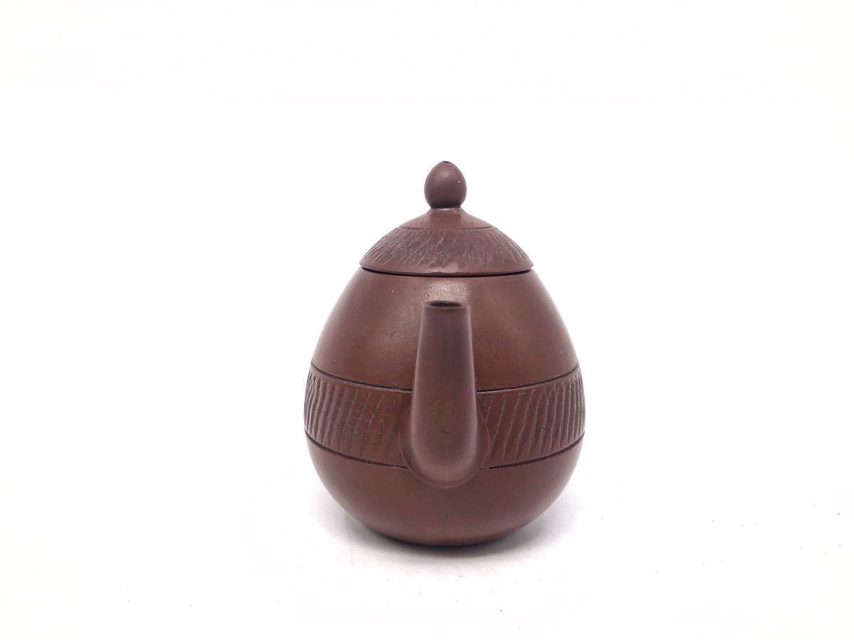 【麗】A186 中国美術 「宜龍」銘 紫砂壺 横手急須 茶碗 茶器セット 茶道具 在銘 合箱 煎茶道具_画像3
