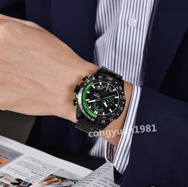 ★上質新品★男性高級腕時計 機械式自動巻 45mm 多機能 カレンダー 曜日表示 メンズウォッチ 夜光 防水 紳士 ビジネス グリーン◇_画像9