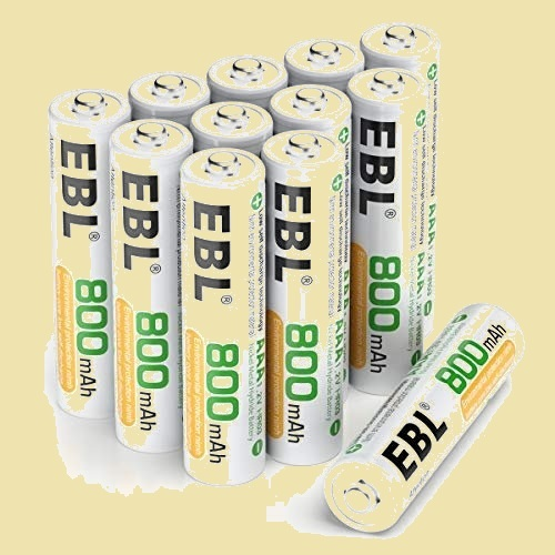 在庫残りあと僅か 単4形充電池 EBL 8-6H 12個入 ケ-ス付き(容量800mAh、約1200回使用可能) 充電式ニッケル水素電池_画像1