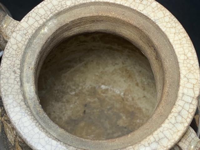 ※11180 香炉 線香立て 久谷焼? 花模様 焼物 瀬戸物 陶器 磁器 純銀フタ ビンテージ アンティーク_画像8