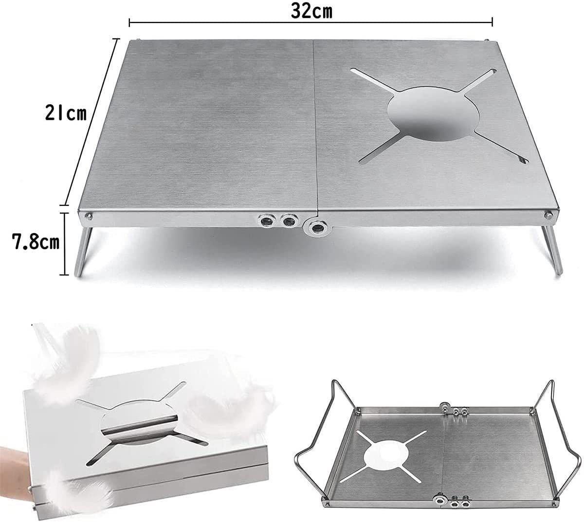 遮熱テーブル 一台多役 折り畳み4種類バーナー対応シングルバーナー用 収納袋付き