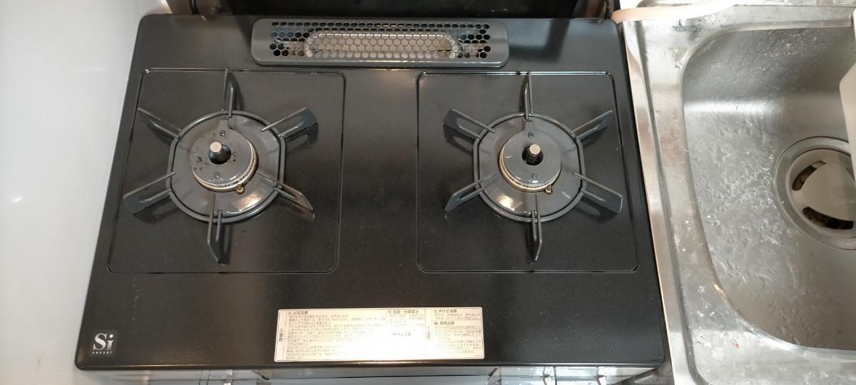 【グリル未使用・ホース付き】ガステーブル  ノーリツ 都市ガス ガスコンロ 二口【2020年式】