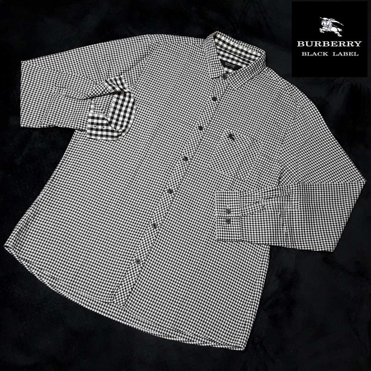 ◆極美品◆希少LLサイズ◆バーバリーブラックレーベル ホース刺繍 襟内裏・袖裏BIG格子 ギンガムチェック総柄(黒×白) 長袖シャツ