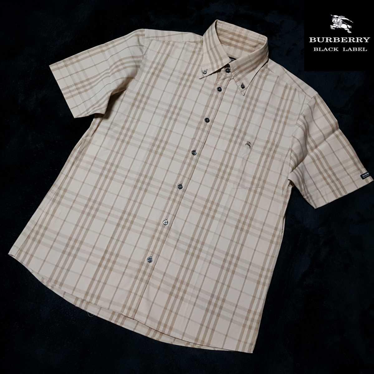 ◆極美品◆溢れる高級感◆高品質◆バーバリーブラックレーベル ホース刺繍 代名詞ノバチェック総柄 BD半袖シャツ 日本製 サイズ2(M)