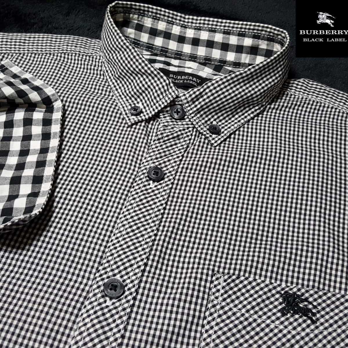 ◆極美品◆バーバリーブラックレーベル ホース刺繍 襟内・袖裏BIG格子 ギンガムチェック総柄(黒×白) 7分袖 ボタンダウンシャツ 3/L