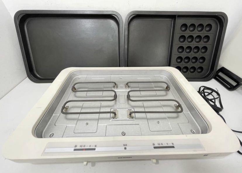 (412d1) 左右温調ホットプレート whpk-012 ホワイト アイリスオーヤマ ホットプレート たこ焼き 蓋付き2019年製 IRIS OHYAMA 動作確認_画像3