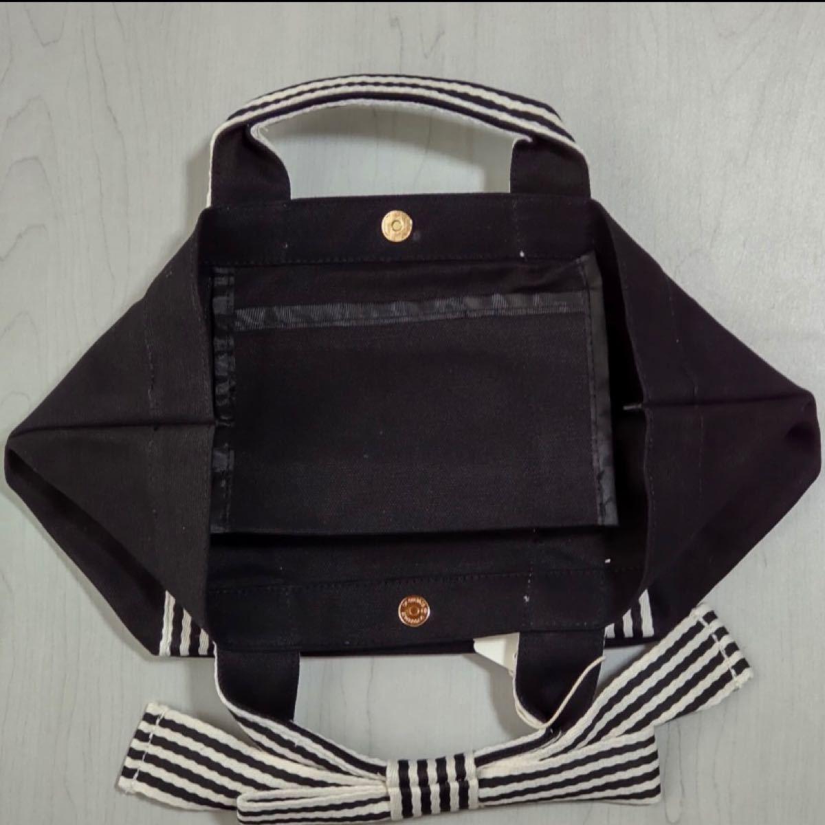 トートバッグ ミニトート リボン キャンバスボーダー バッグ ランチバッグ サブバッグ リボントート カバン ブラック 黒