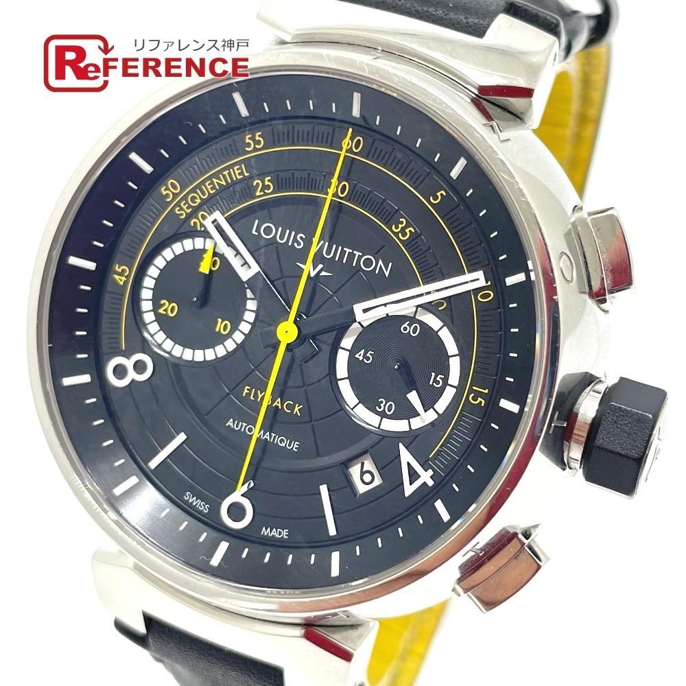 LOUIS VUITTON ルイヴィトン Q102B クロノグラフ タンブール フライバック 自動巻き メンズ腕時計 SS/革ベルト メンズ シルバー×ブラック_画像1