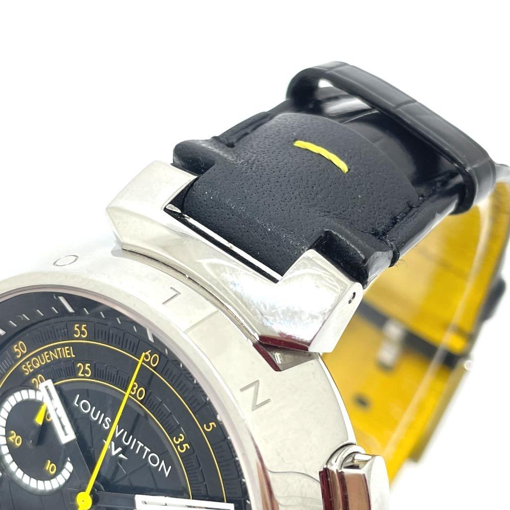 LOUIS VUITTON ルイヴィトン Q102B クロノグラフ タンブール フライバック 自動巻き メンズ腕時計 SS/革ベルト メンズ シルバー×ブラック_画像4