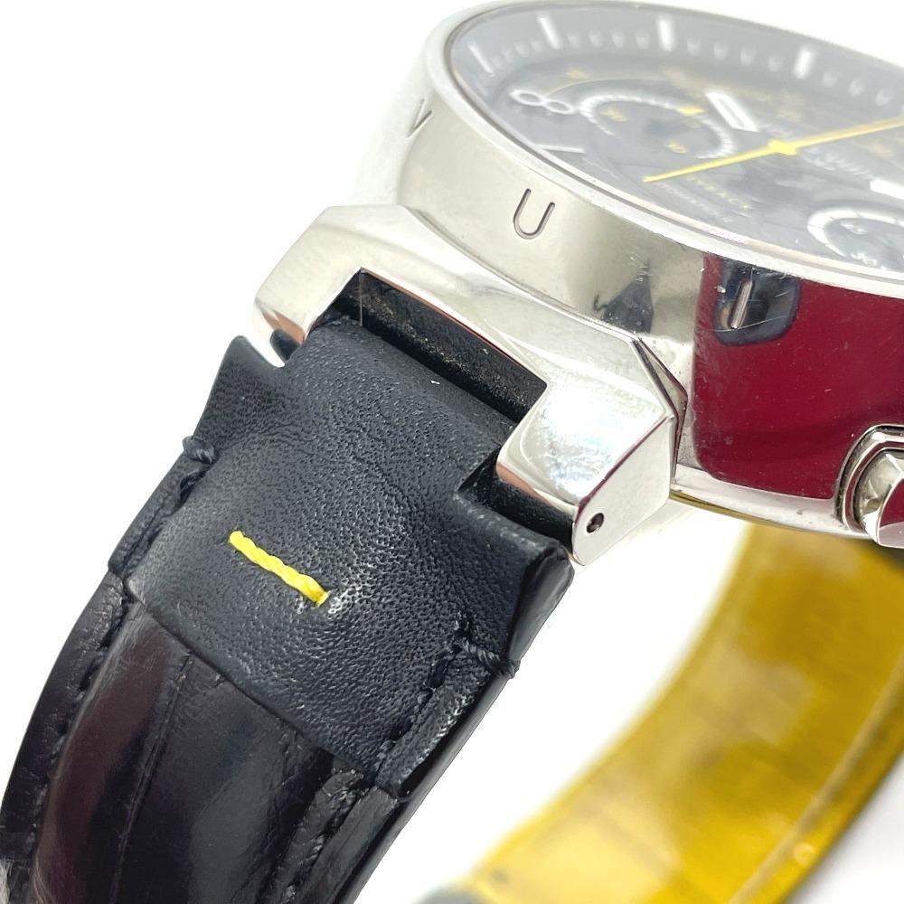 LOUIS VUITTON ルイヴィトン Q102B クロノグラフ タンブール フライバック 自動巻き メンズ腕時計 SS/革ベルト メンズ シルバー×ブラック_画像5