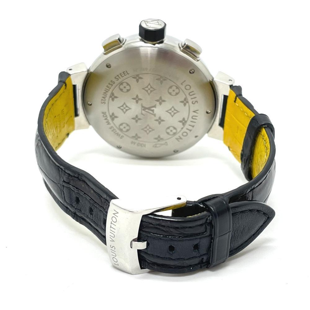 LOUIS VUITTON ルイヴィトン Q102B クロノグラフ タンブール フライバック 自動巻き メンズ腕時計 SS/革ベルト メンズ シルバー×ブラック_画像6